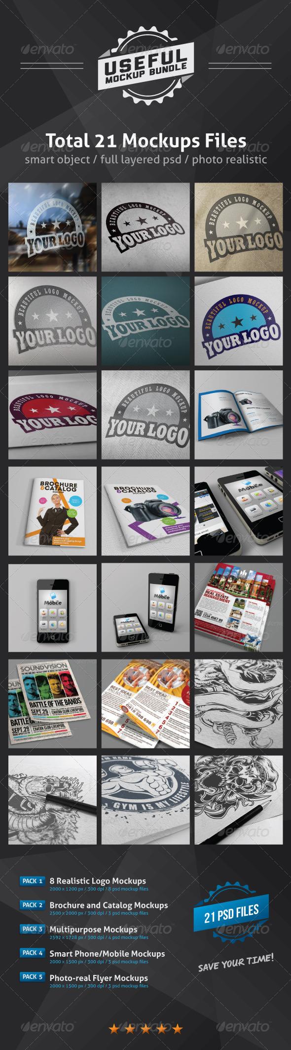 GraphicRiver Useful Mockups Bundle 2864081