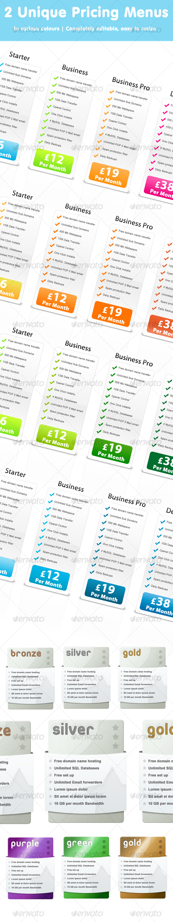 GraphicRiver Web Pricing Tables 103334