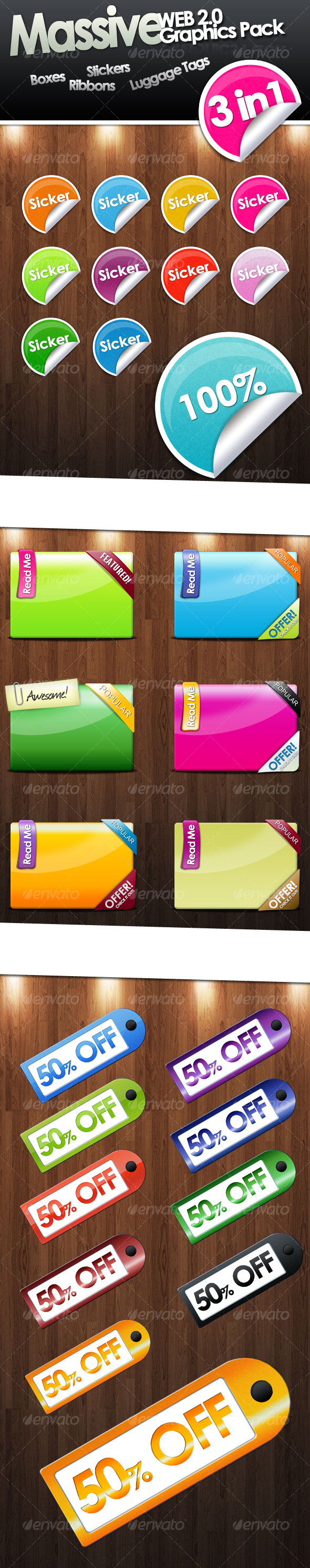 GraphicRiver Massive Web 2.0 Asset Pack Stickers Ribbons etc 103479