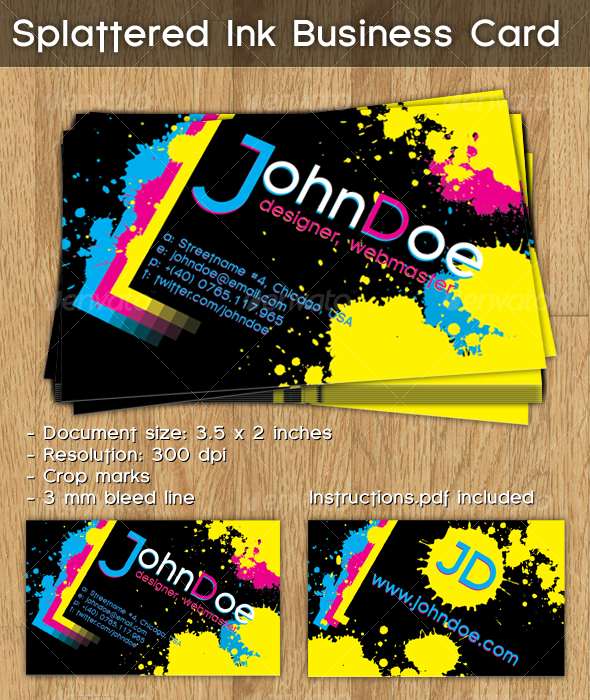 GraphicRiver Splattered Ink Business Card 102383