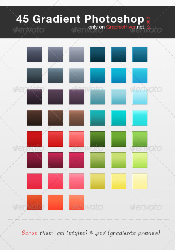 GraphicRiver 45 HQ Gradient Set for Photoshop Pack 1 2872755