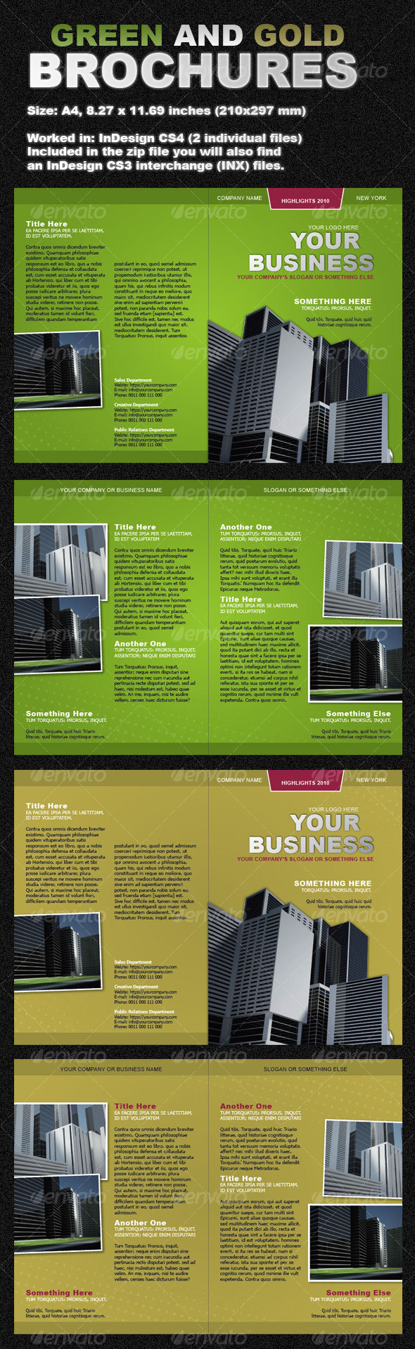 GraphicRiver Green and Gold Brochures two-fold 103915