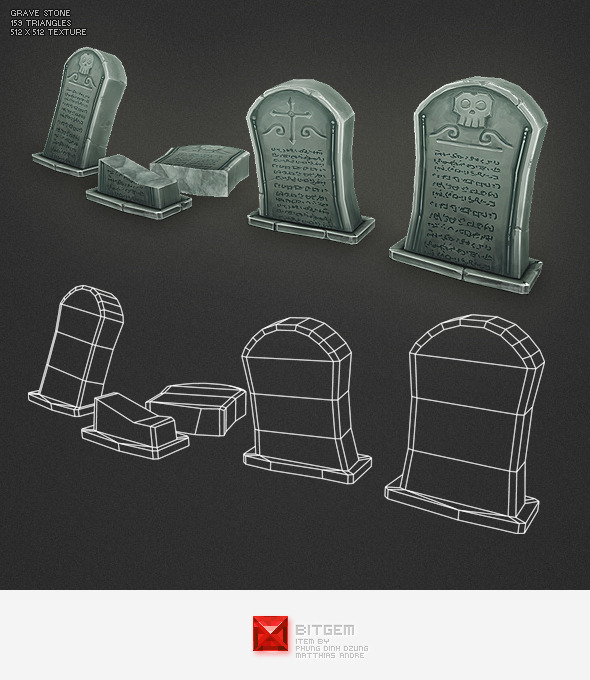 3DOcean Low Poly Grave Stone 01 2806342