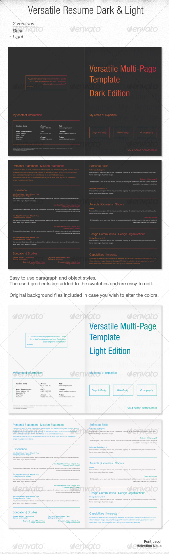 GraphicRiver Versatile Multi-Page Template Dark and Light 104103
