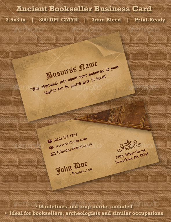 GraphicRiver Ancient Bookseller Business Card 104155