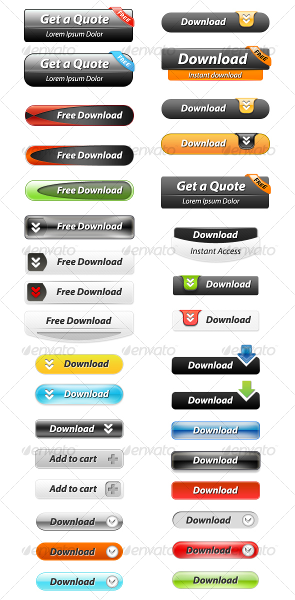GraphicRiver 33 Layered Web Buttons 104278