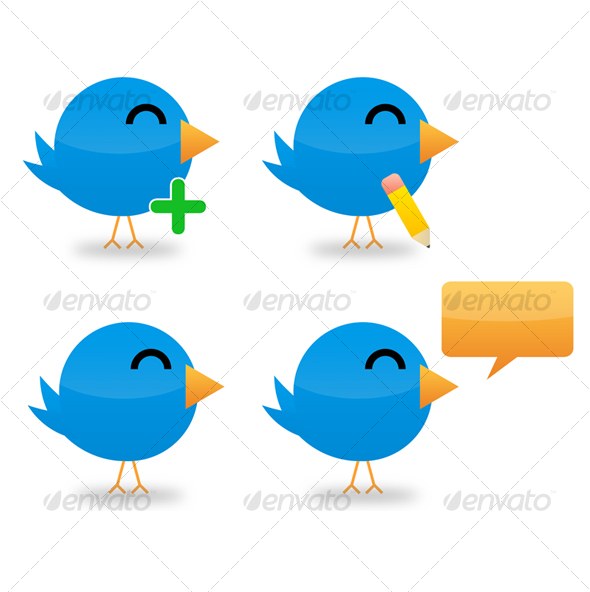 GraphicRiver Set of 4 Twitter Icons 104281