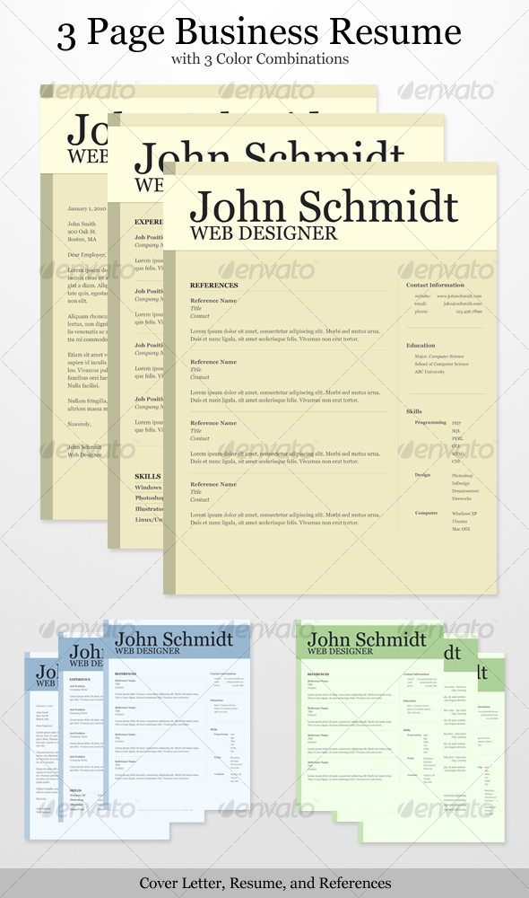GraphicRiver 3 Page Business Resume with 3 Color Combinations 104459