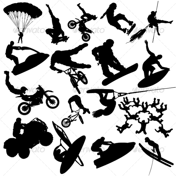 GraphicRiver Extreme sport silhouettes 104490