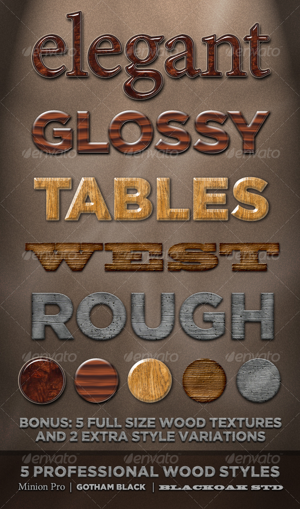 GraphicRiver 5 Professional Wood Styles 104491