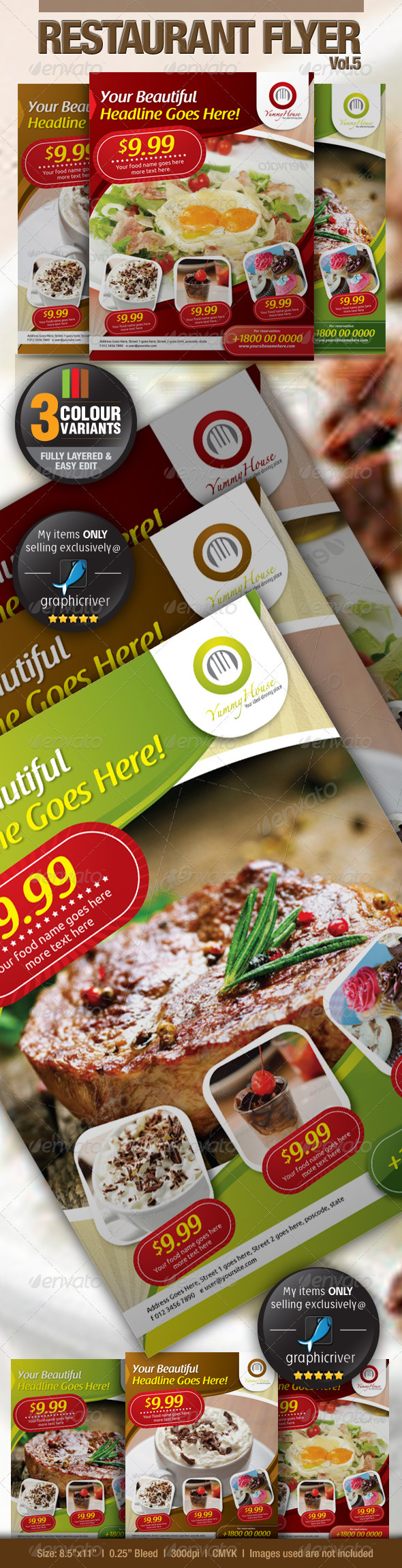 GraphicRiver Restaurant Flyer Vol.5 2826296