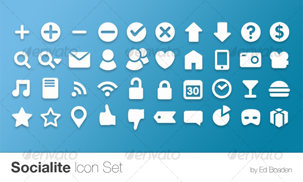 GraphicRiver Socialite Icon Set 40 Vector Icons 104587