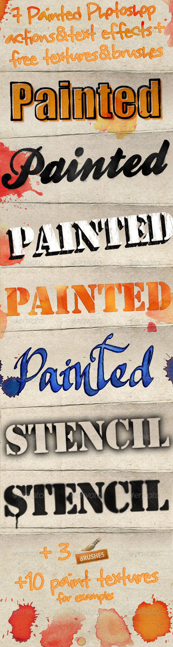GraphicRiver Painted Photoshop Text Effects & Actions 2919617