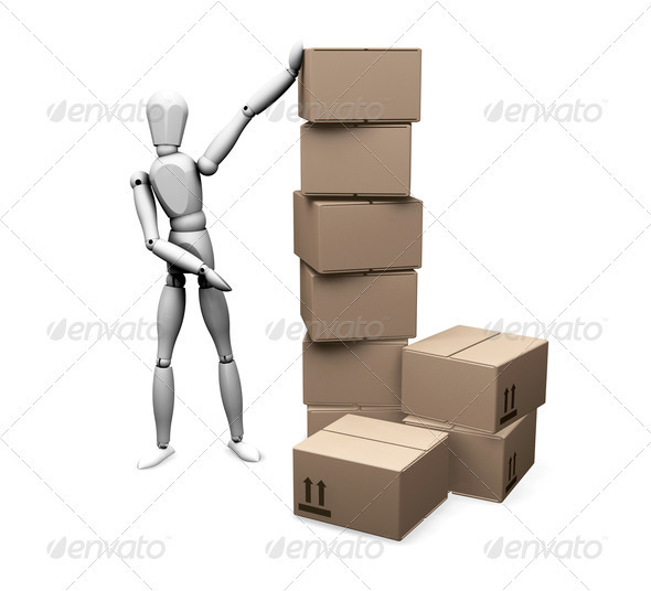 Graphic River Man with boxes Graphics -  3D Renders  Characters 305931