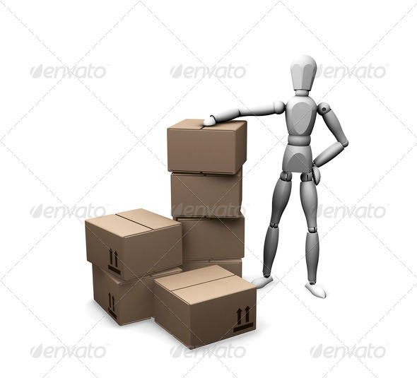 Graphic River Man with boxes Graphics -  3D Renders  Characters 305932