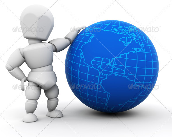 Graphic River Person with globe Graphics -  3D Renders  Characters 305933