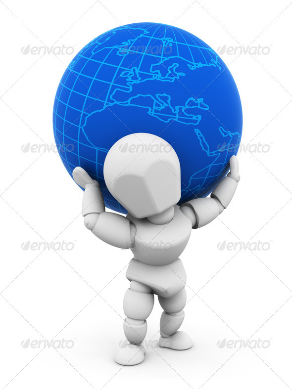 Graphic River Person with globe Graphics -  3D Renders  Characters 305934