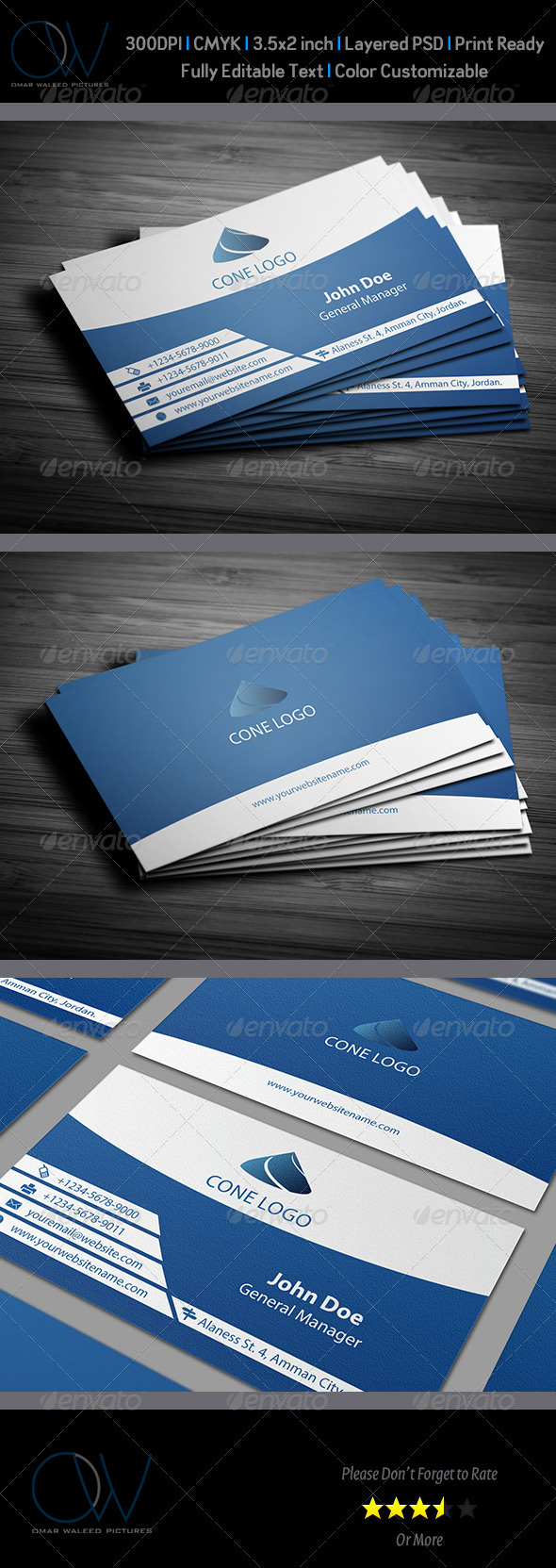 GraphicRiver Horizontal Blue Business Card 2922129