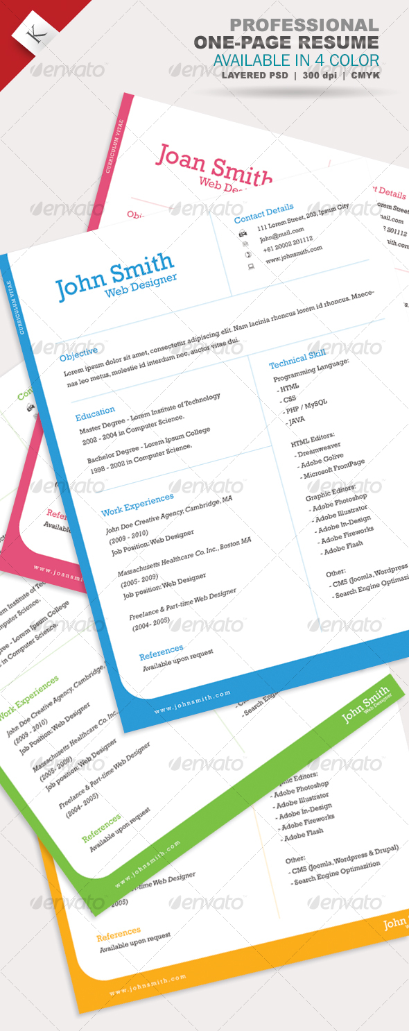 GraphicRiver Professional One-Page Resume 104736