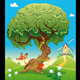 Landscape with fox behind the tree. - GraphicRiver Item for Sale
