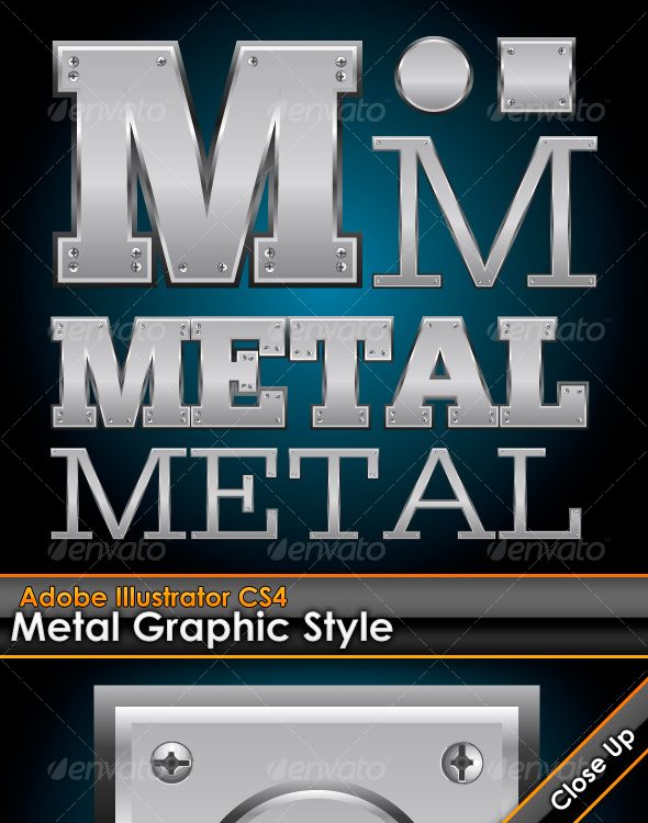 GraphicRiver Metal Plate Illustrator Graphic Style with Bolts 102410