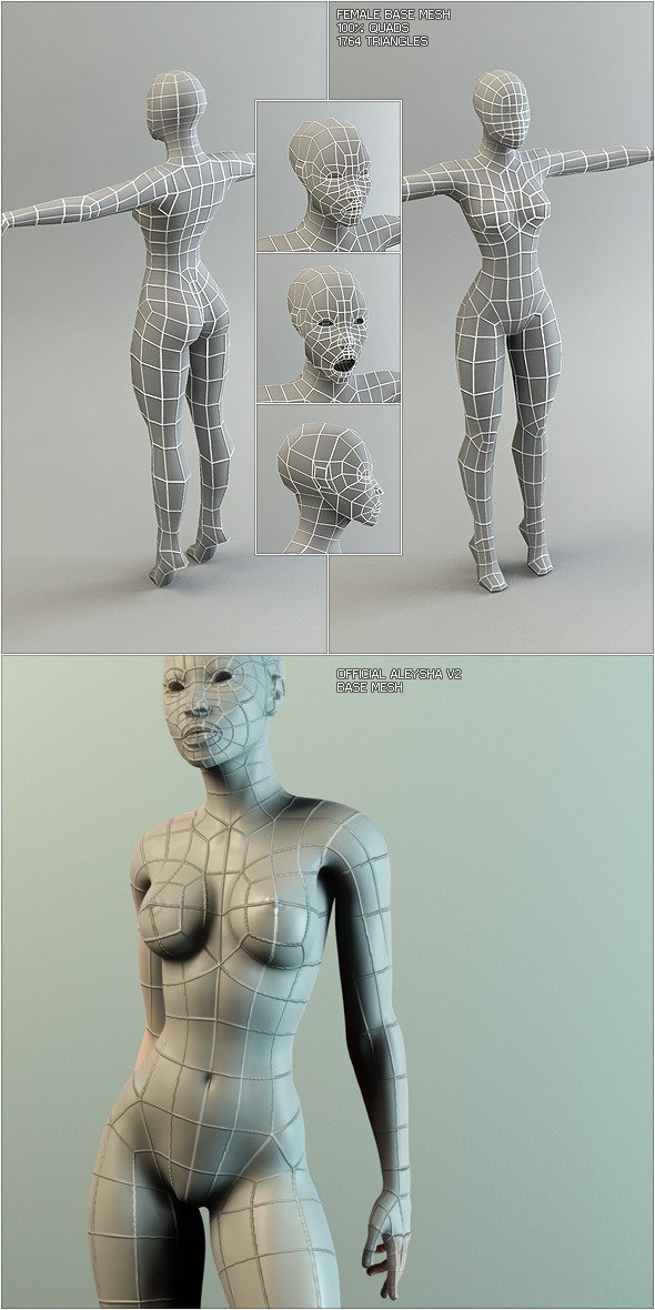 3DOcean Low Poly Base Mesh Female 120861