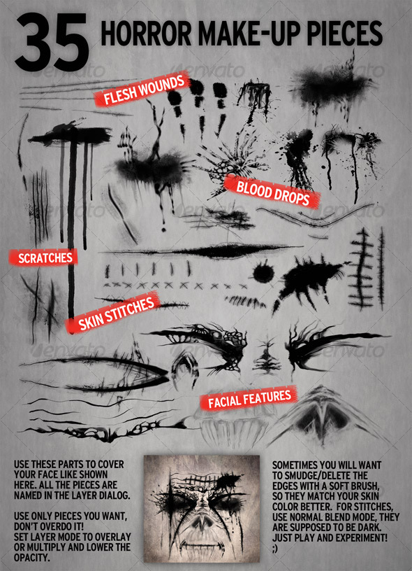 GraphicRiver 35 Make-up elements for Horror Retouch 105320