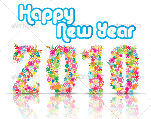 GraphicRiver New Year 2010 With Floral Design 105380