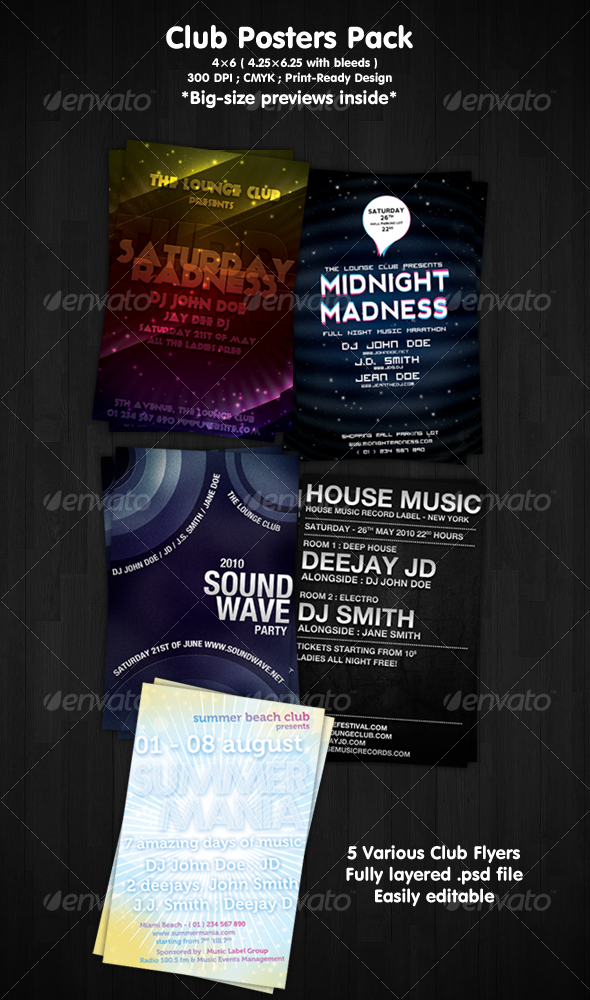 GraphicRiver Club Flyers Pack 105455