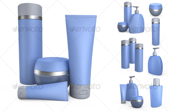 GraphicRiver Blue cream cans and jars of creams.3D illustration 104798
