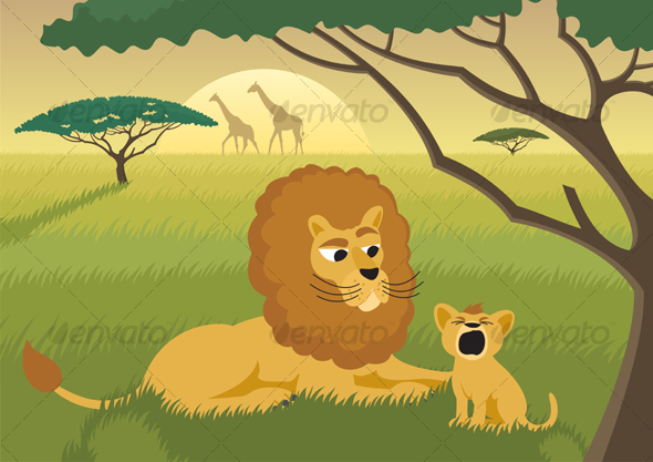 GraphicRiver Lions in the Wild 94040