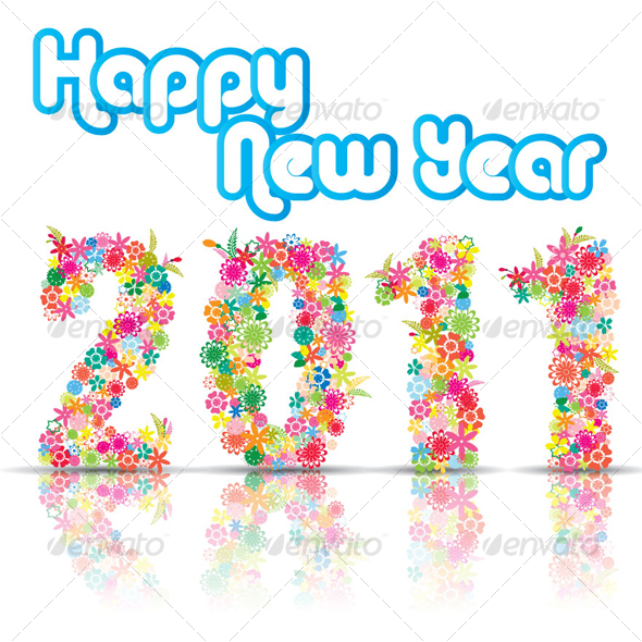 GraphicRiver New Year 2011 With Floral Design 105862