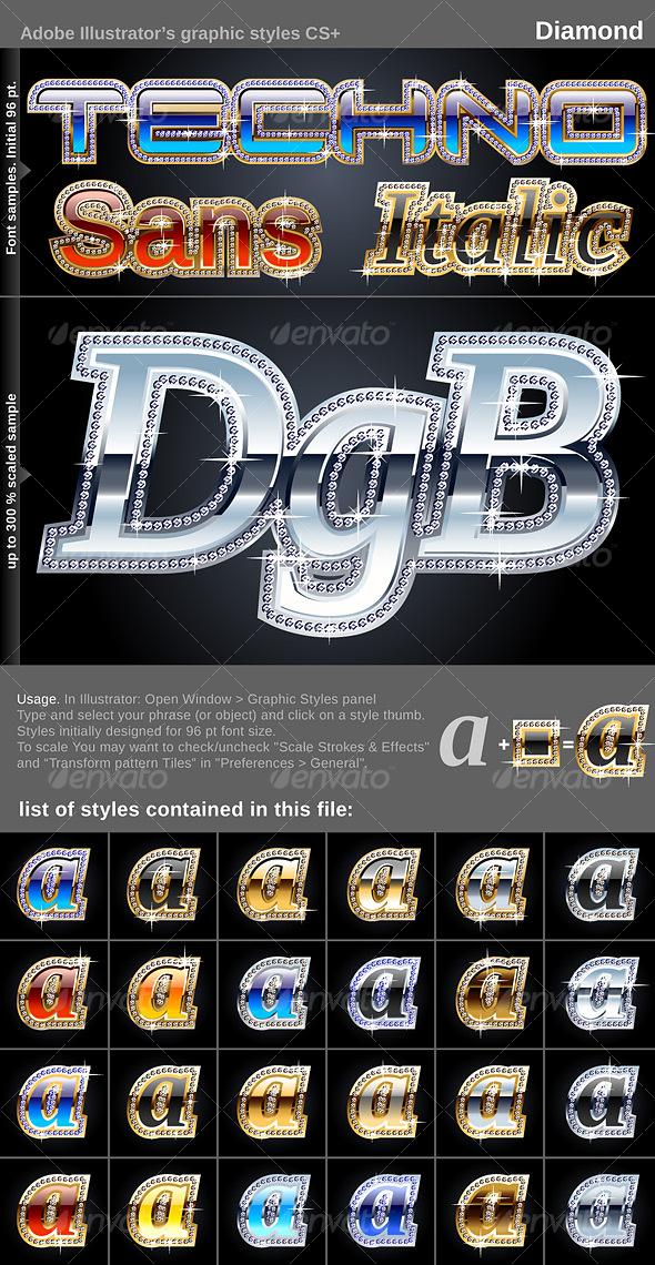 GraphicRiver Illustrator Graphic Styles Diamond 105969