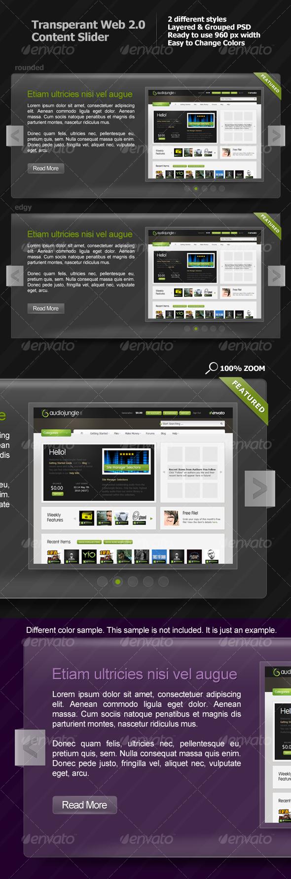 GraphicRiver Transparent Web 2.0 Content Slider 103715
