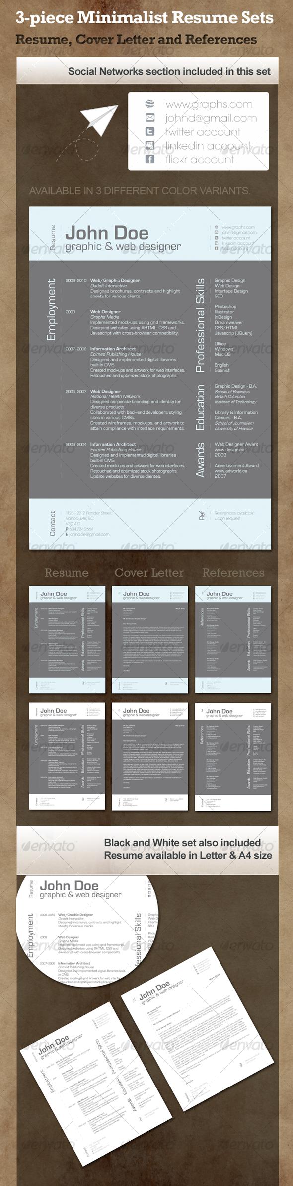 GraphicRiver 3-Piece Minimalist Resume 101750