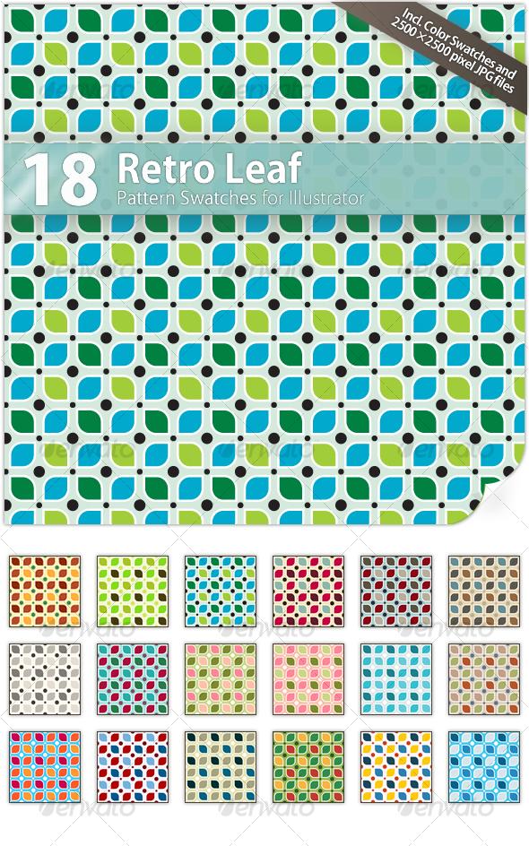 GraphicRiver 18 Retro Leaf Pattern Swatches 55017