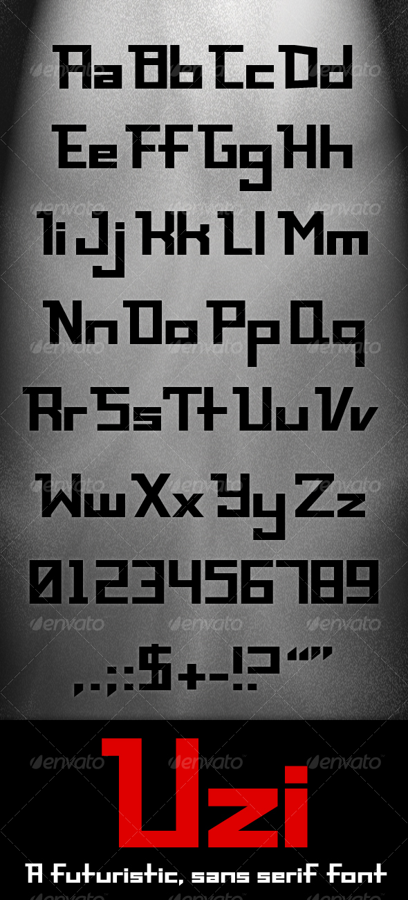 GraphicRiver Uzi Modern futuristic sans serif font 106746