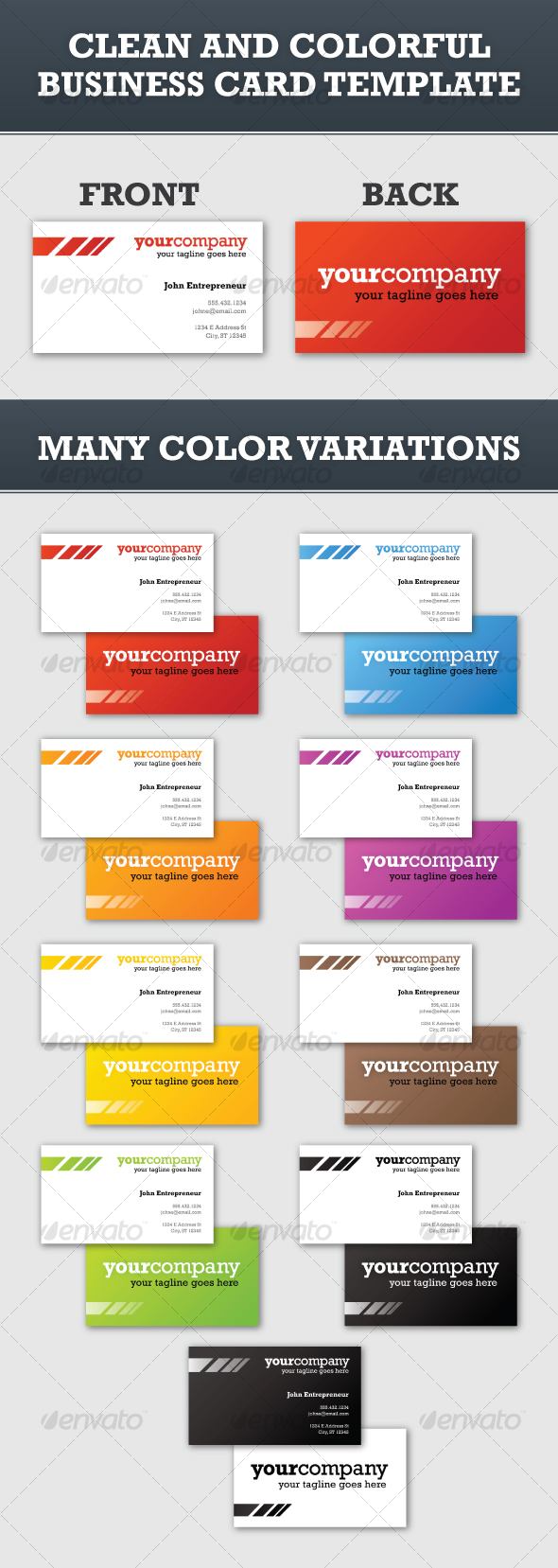 GraphicRiver Clean and Colorful Business Card Template 106961
