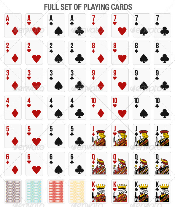 Set of 52 playing cards for online gaming graphicriver for Table 52 cards