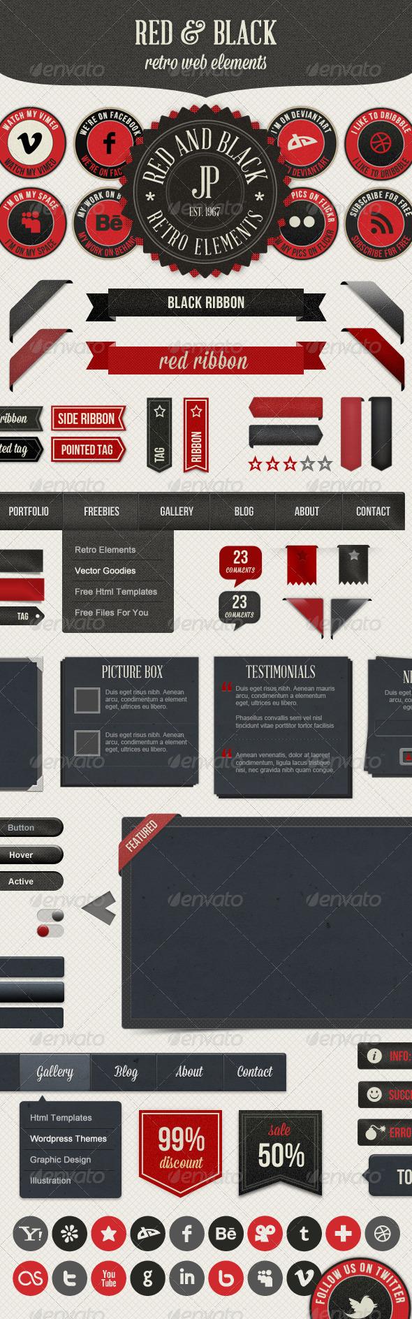 GraphicRiver Retro Web Elements Red & Black Pack 3013304