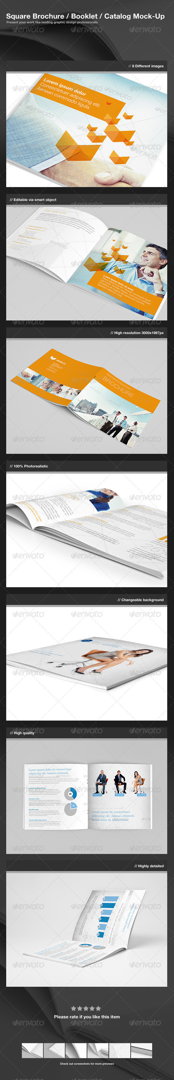 GraphicRiver Square Brochure Booklet Catalog Mock-Up 3019036