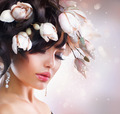 Fashion Brunette Girl with Magnolia. Hairstyle - PhotoDune Item for Sale