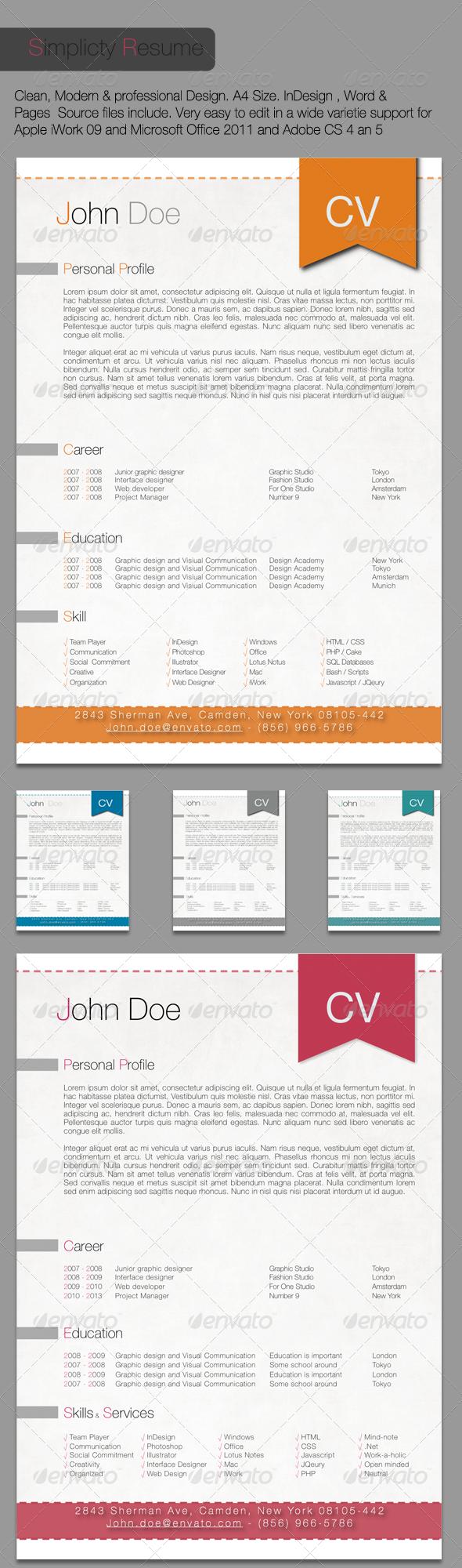 GraphicRiver Simplicity Resume 310178