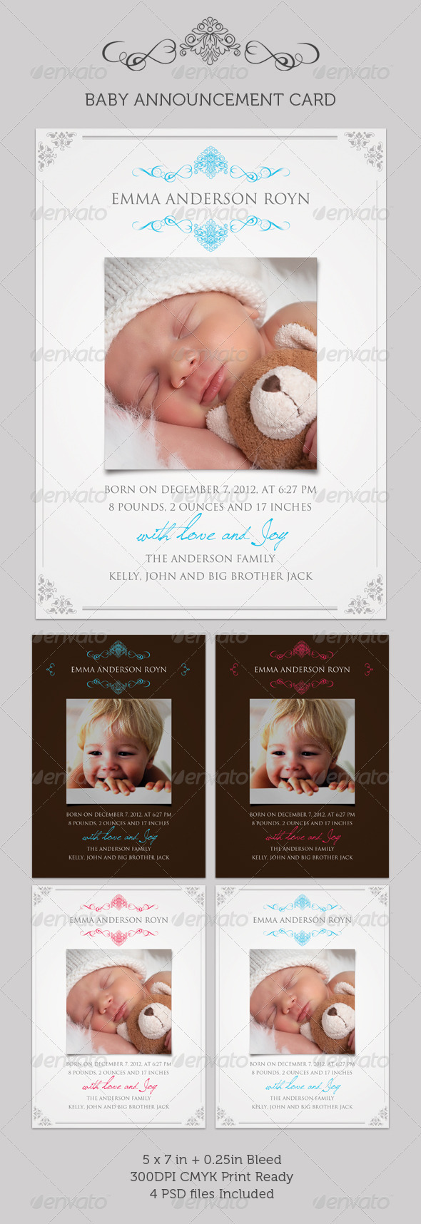 GraphicRiver Boy Girl Baby Announcement Card 02 310570