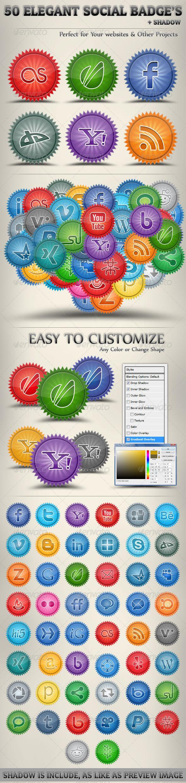 Graphic River Elegant Social Badges Web Elements -  Badges & Stickers 306315