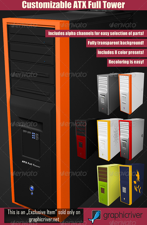 GraphicRiver Customizable ATX Full Tower PC Case 3016419