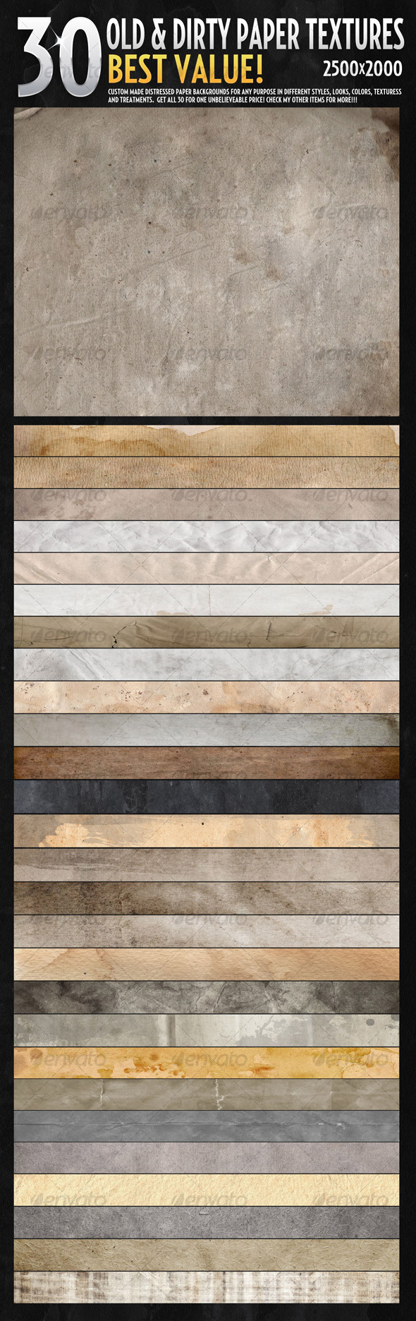 GraphicRiver 30 Hires Textures-Ultimate Old Paper Texture Pack 106891