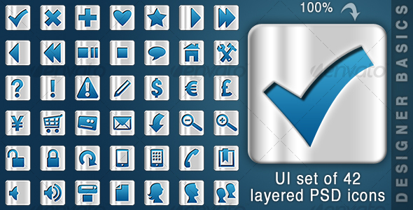 GraphicRiver UI Matt Metal Icons 42 Icons 108004