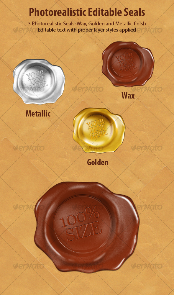 GraphicRiver Editable Photorealistic Wax Seals 108164