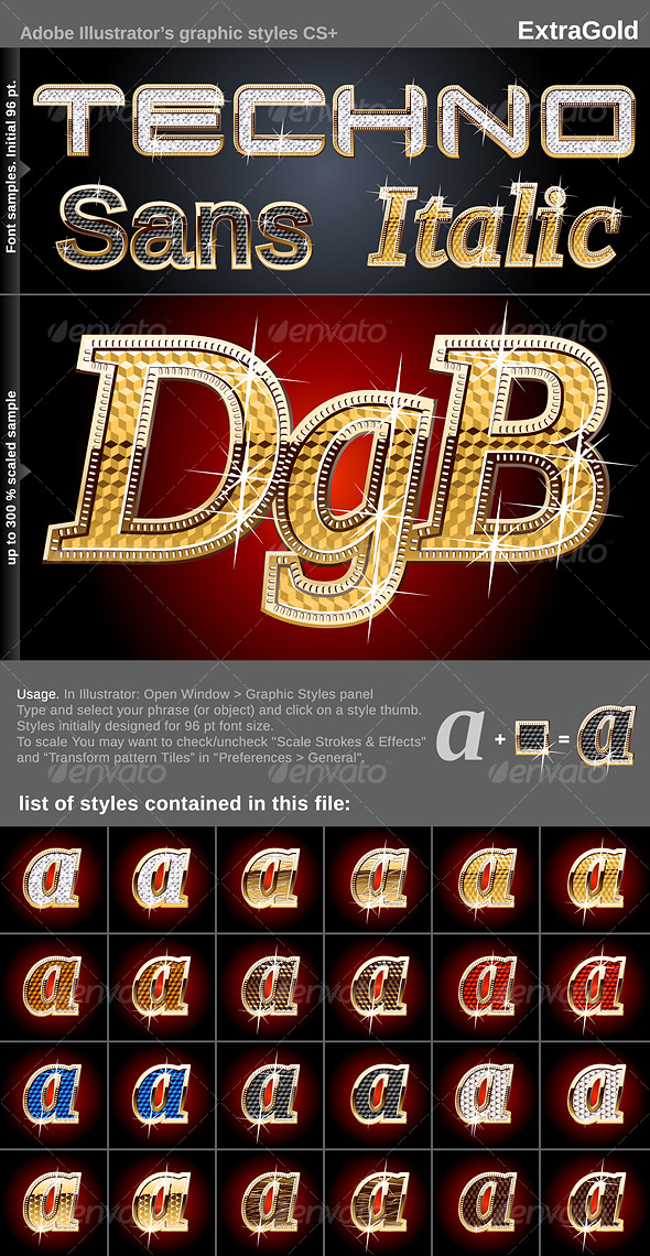 GraphicRiver Illustrator Graphic Styles Extra Gold 108721